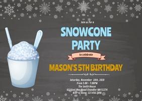 Snow Cone Birthday Invitation A6 template