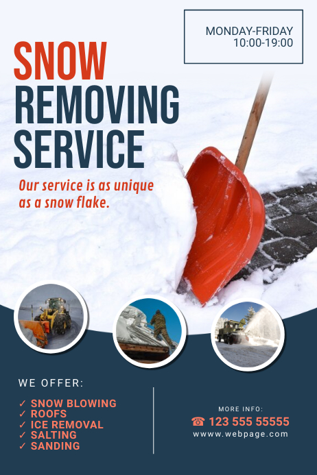 Snow Removing Service Flyer Template Póster