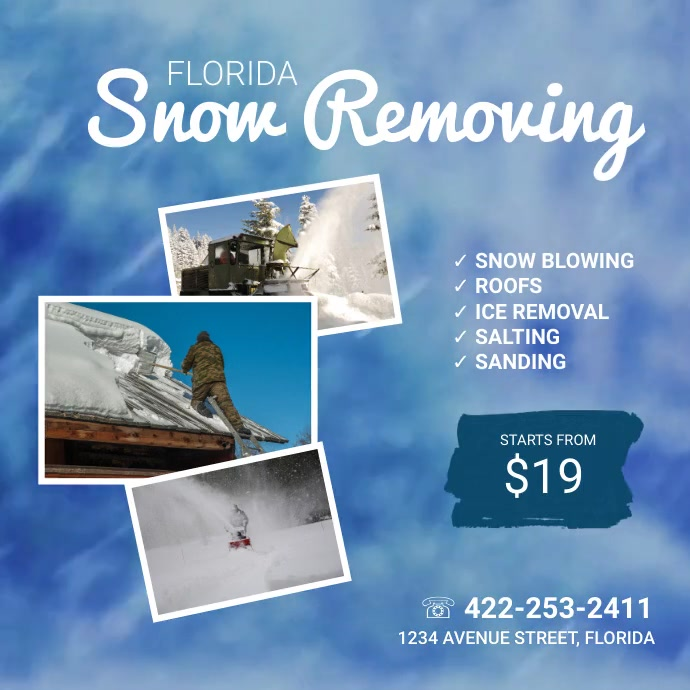 Snow removing video ad template Square (1:1)