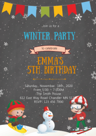 Snow skiing birthday invitation