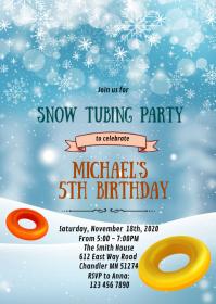 Snow tubing birthday card invitation
