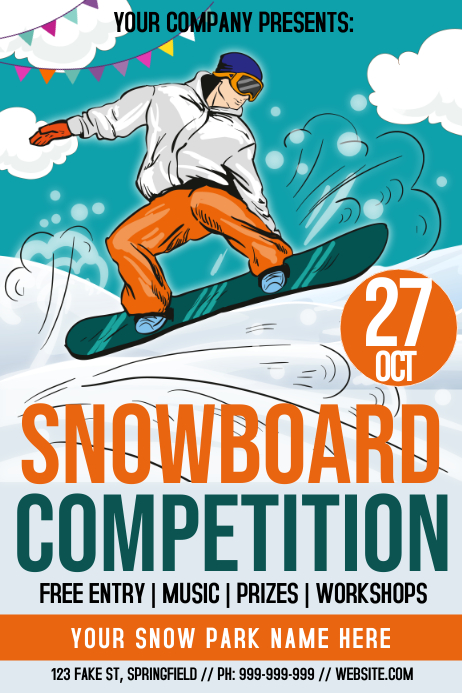 Snowboard Competition Poster Template Postermywall