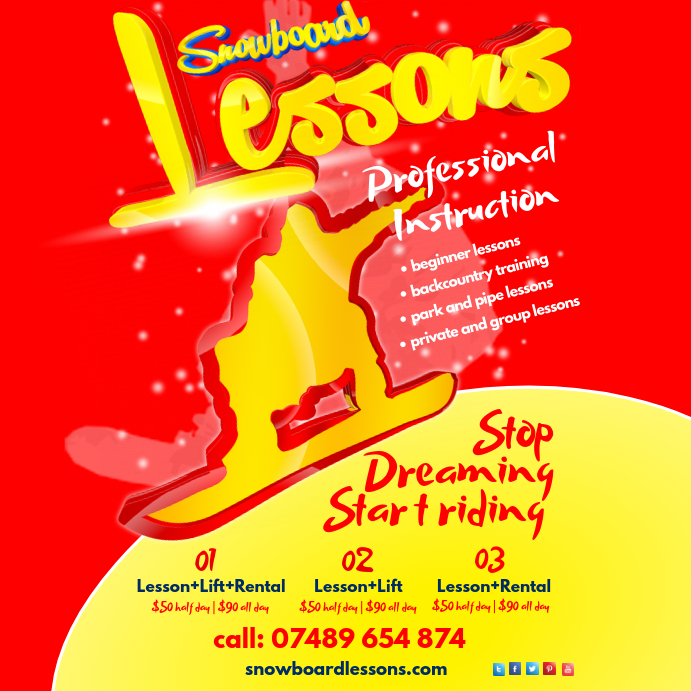 Snowboard Lessons Poster Template Postermywall