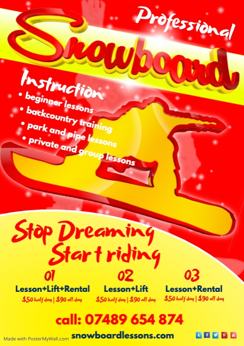 Snowboard Lessons Flyer