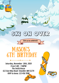 Snowboarding birthday party card