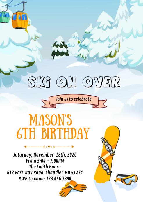 Snowboarding birthday party card
