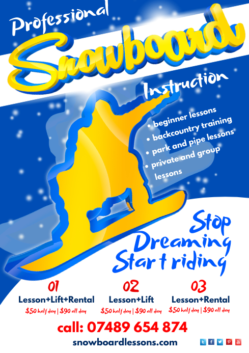 Snowboarding Lessons Poster