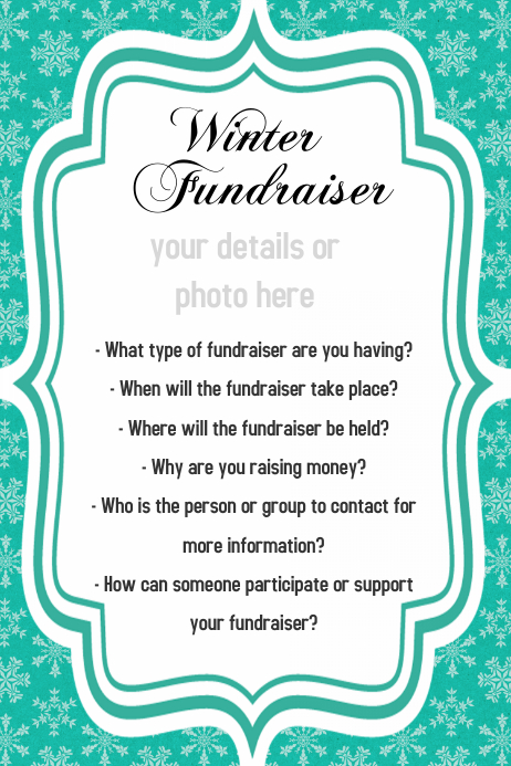 Snowflake, Winter, Fundraiser, Retail Sales Flyer, Invitatio
