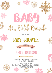 Snowflake baby shower invitation