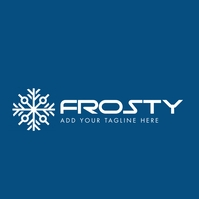 Snowflake icon logo blue and white colors template