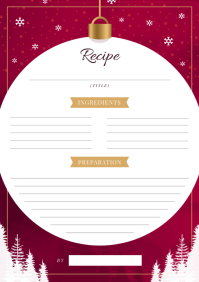 Snowflake Themed Recipe Card A4 template