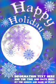 snowflakes and moon, in blue, purple and white