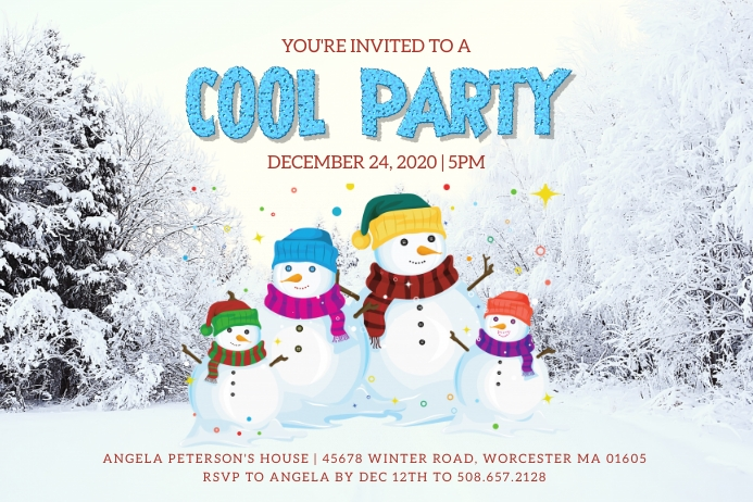 Snowman Family Party Invitation Label template