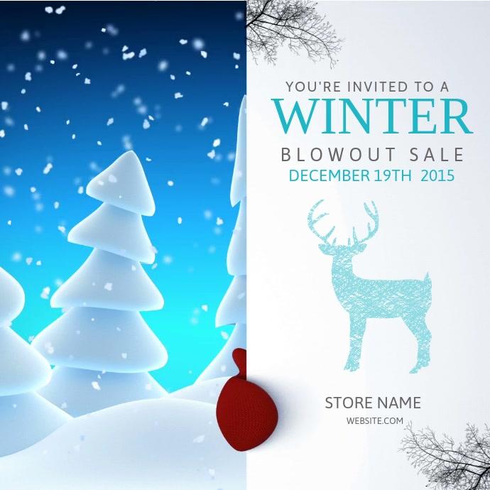 Snowman Winter Sale Video Template Instagram Post