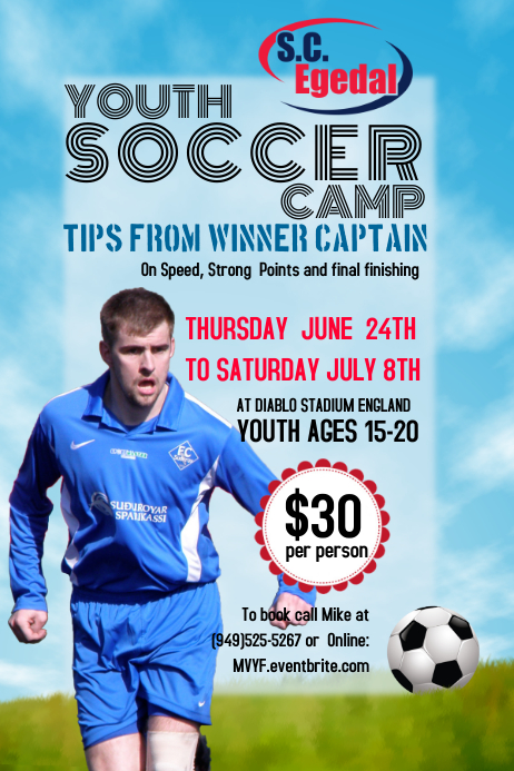 Soccer Camp Event Flyer Template – Soccer Flyer Template