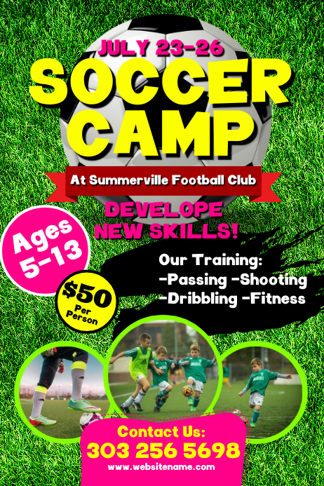 Soccer Camp Poster template