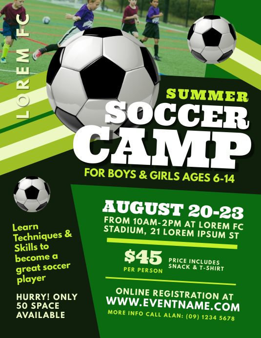 Modele Soccer Camp Flyer Template Postermywall