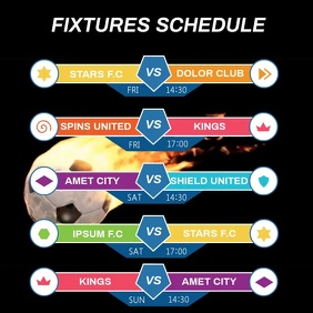 SOCCER FIXTURES SCHEDULE โพสต์บน Instagram template