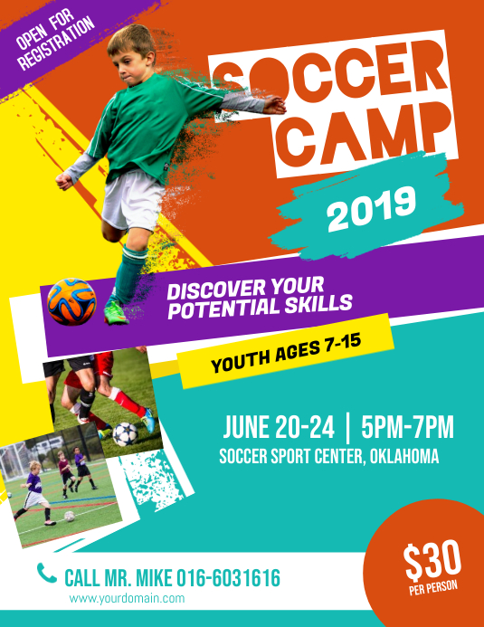 Soccer Football Futsal Camp Flyer Poster Template