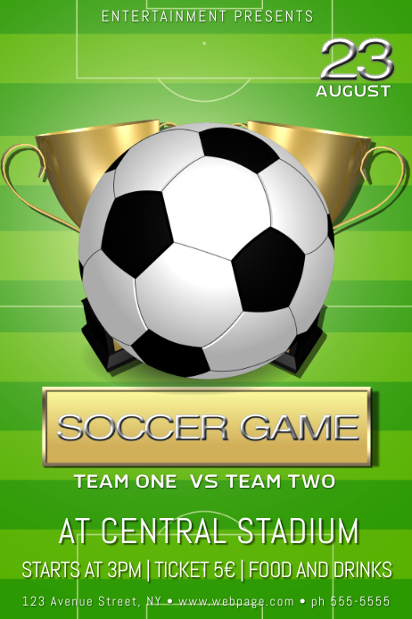 soccer football game poster template
