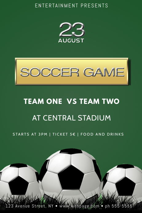 soccer football game poster flyer template postermywall