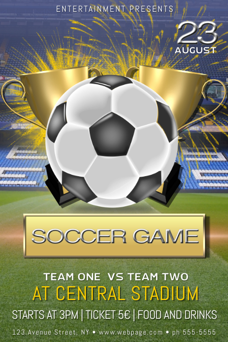 soccer football game tournament cup flyer template