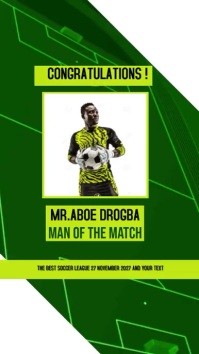 SOCCER FOOTBALL MAN OF THE MATCH SOCIAL MEDIA Instagram Story template