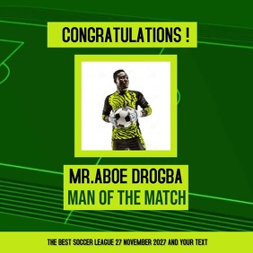 SOCCER FOOTBALL MAN OF THE MATCH SOCIAL MEDIA Instagram na Post template
