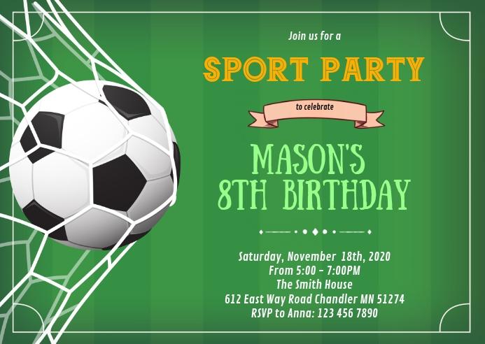 Soccer football sport birthday invitation A6 template