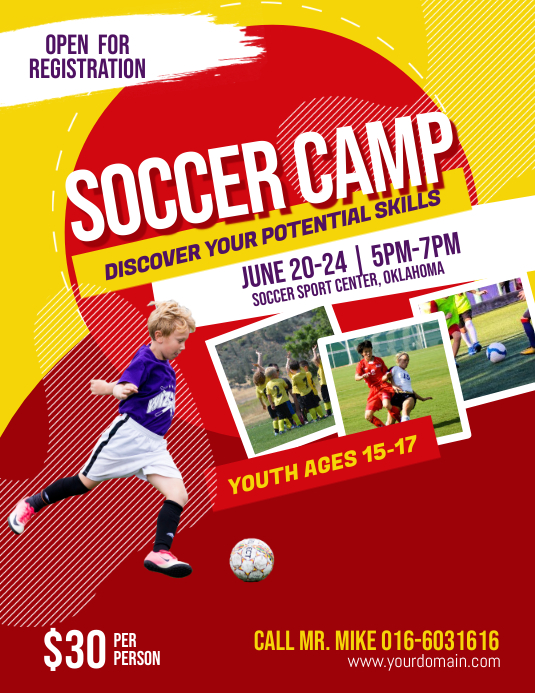 Soccer Futsal Football Camp Flyer Poster Template
