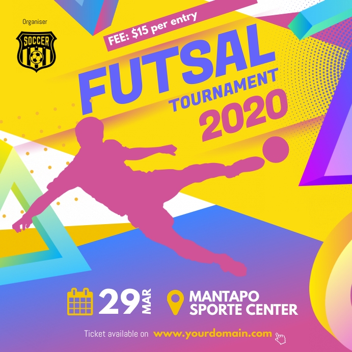 Soccer Futsal Tournament Flyer Social Instagram Plasing template