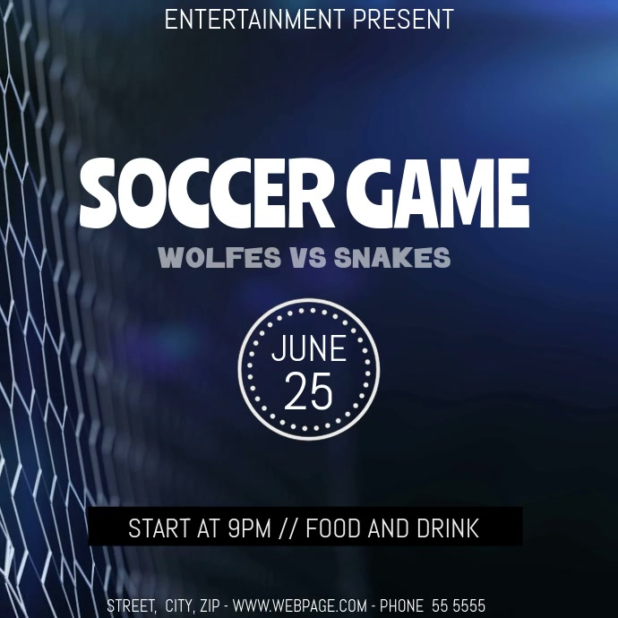 Soccer game Event party video flyer template