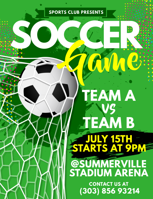 soccer game flyer template postermywall