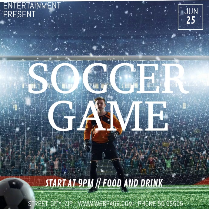 Soccer game video flyer template