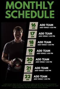 Soccer Monthly Schedule Template Poster