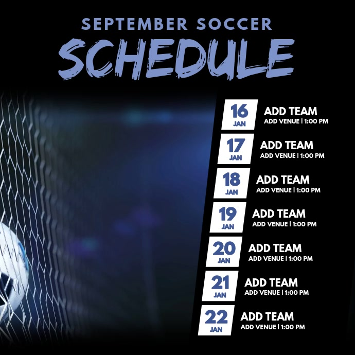 Soccer Monthly Schedule Video Template