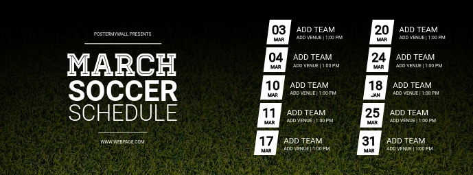 Soccer team schedule facebook cover template