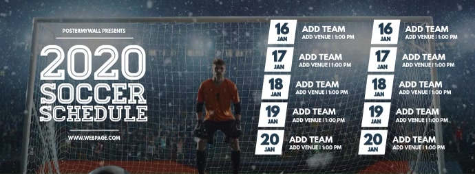 Soccer team schedule facebook cover template