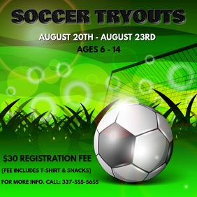 SOCCER TRYOUTS FLYER Capa de álbum template