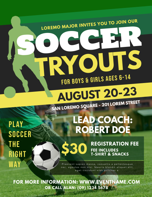 Soccer Tryouts Flyer Template Postermywall