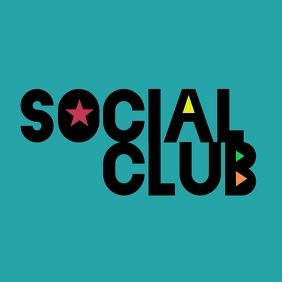 Social Club Brand Logo Modern Playful Square Instagram na Post template