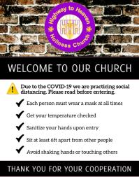 Social Distance Church Notice 海报/墙板 template