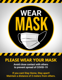 social distancing, wear mask, covid-19 Flyer (US Letter) template