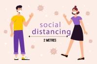 SOCIAL DISTANCING Rótulo template