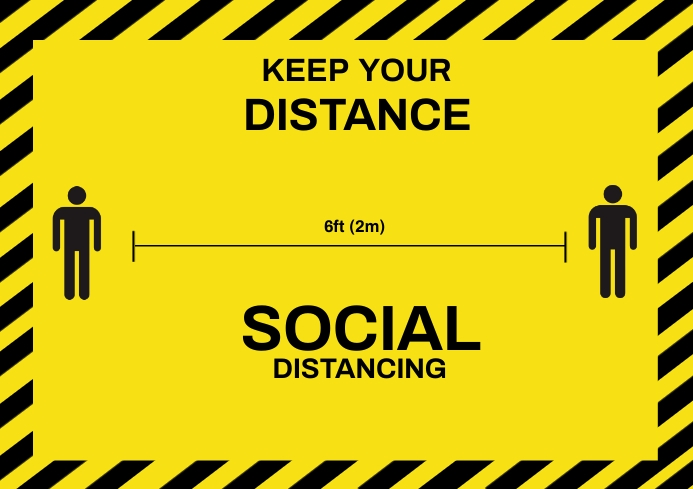 Social Distancing Sign A3 template