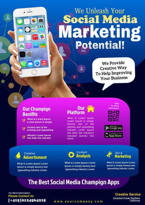 social marketing flyer template A4