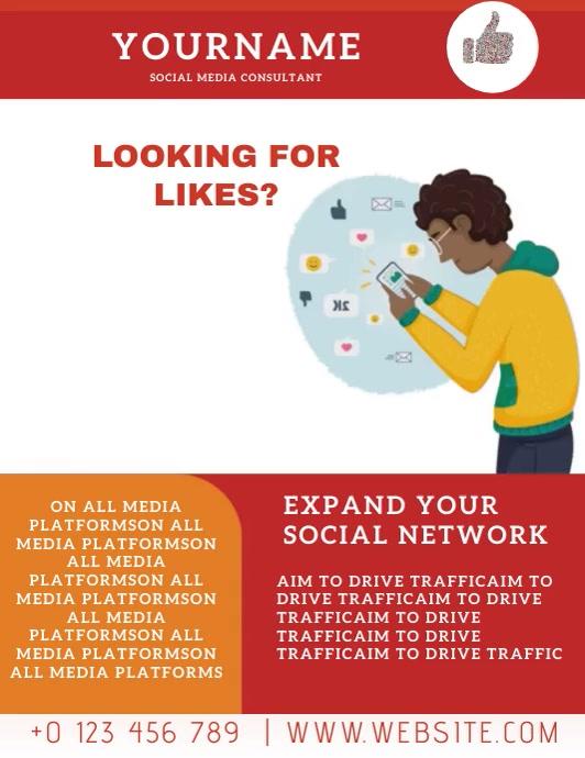 SOCIAL MEDIA MANAGEMENT AD Flyer Template Volante (Carta US)