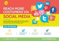 Social Media Marketing Agency Postcard template