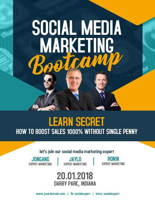 Social Media Marketing Bootcamp Template Postermywall