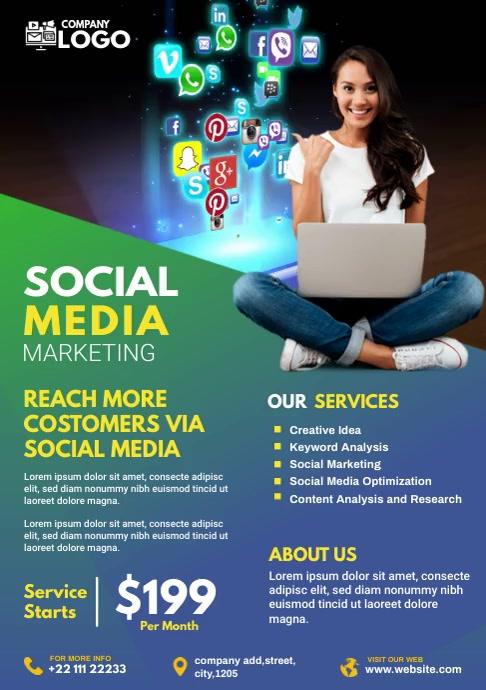 Social Media Marketing flyer A4 template